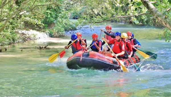 Rafting with children in Umbria