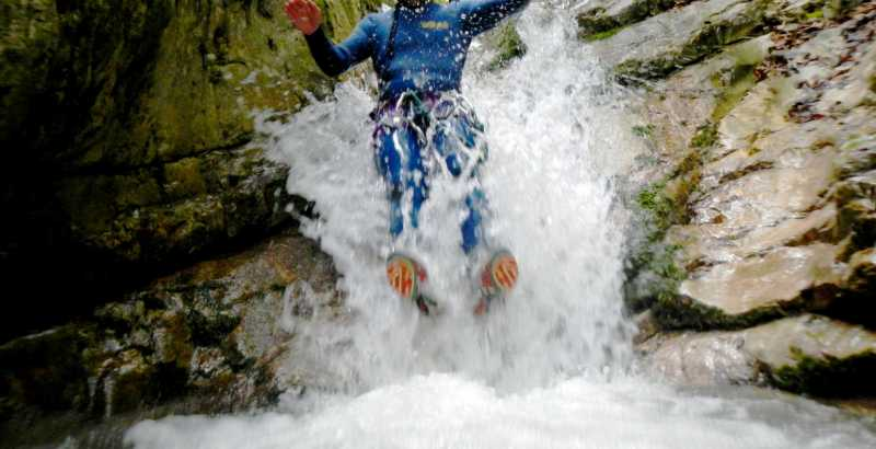 Canyoning at the Ussita gorge