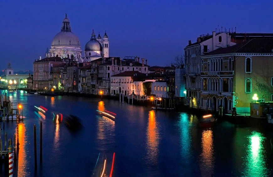 Venice by night, cruise on lagoon