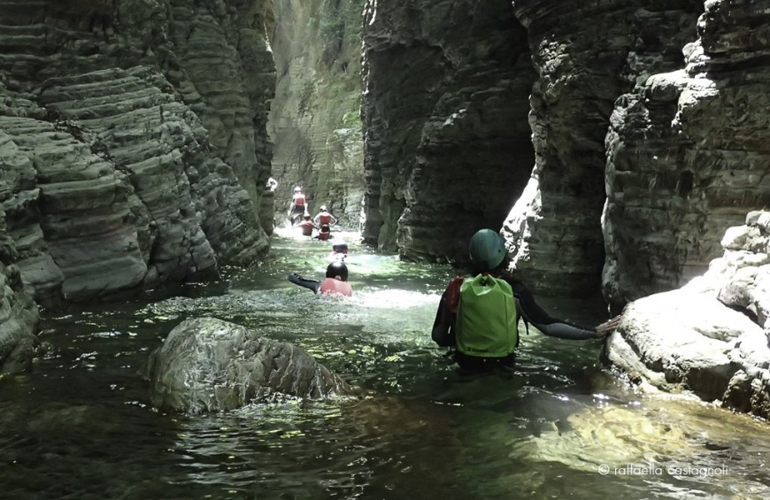 River trekking in Giaredo Gorges