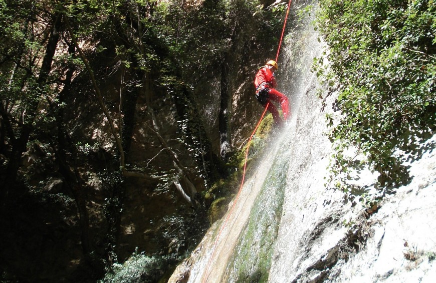 Canyoning on Cucco Mountain inside the Rio Freddo Gorge
