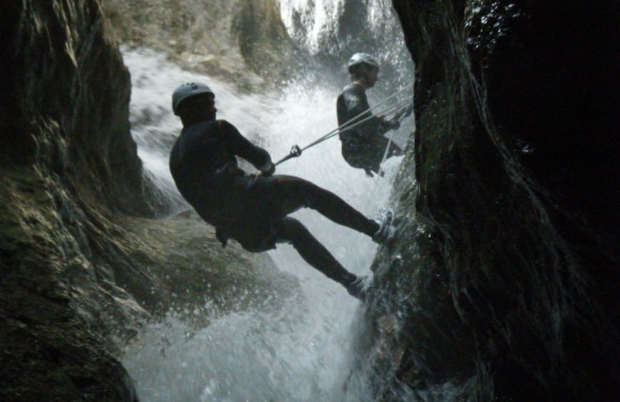 Canyoning in Palvico River in Trentino Alto Adige region