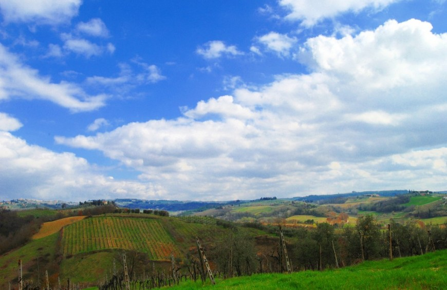 Chianti landscape in Tuscany by mountain bike