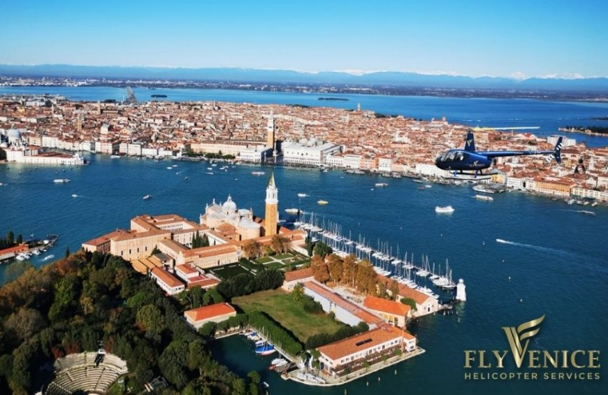Panoramic helicopter flight in the sky of Venice